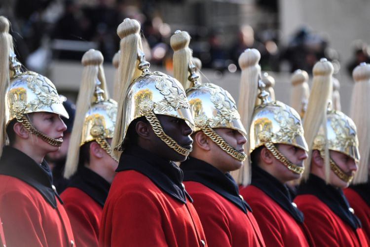 Troopers from the Household Cavalry Mounted Regiment, The Lifeguards on parade at the Cenotaph for Remembrance Sunday.