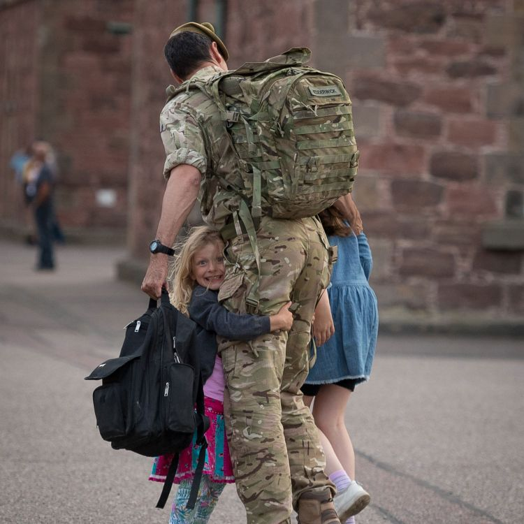 3rd Battalion The Royal Regiment of Scotland 3 SCOTS Homecoming Lt Col Rob Hedderwick with his family leaving Fort George