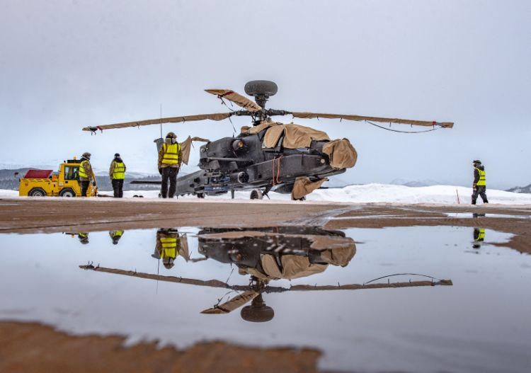 the British Army's Apache helicopter, sitting on the pan inside the Arctic Circle of Norway.