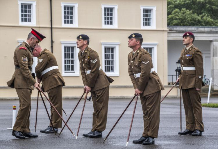 Members from the Royal Logistics Corps take part in The Royal Military Academy Sandhurst annual 'All Arms and International Pace Sticking Competition'
