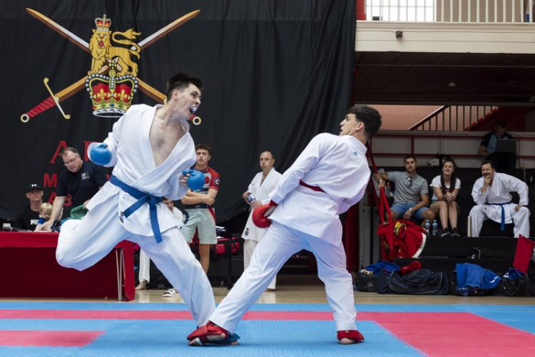 Lance Corporal (L/Cpl) Sam Williams (Left), lunges at his opponent in the Karate event at the Inter-Services Martial Arts Championships 2019.