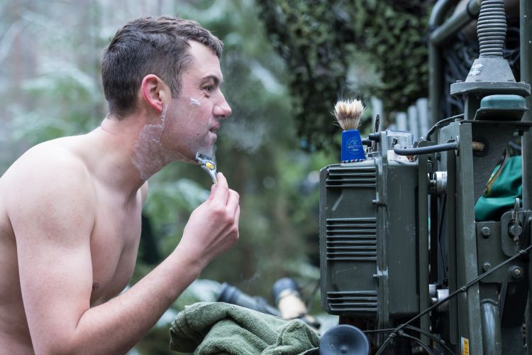 MOD photographs 2017- soldier shaving