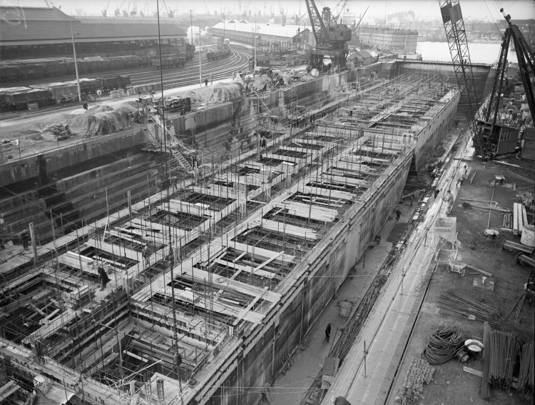 Construction of Mulberry Harbour. Credit to Imperial War Museum