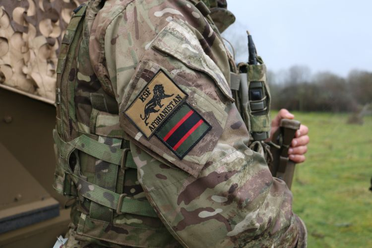 Afghanistan badge on military uniform 060319 CREDIT BFBS