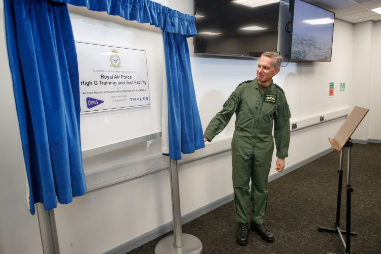 Air Chief Marshal Sir Stephen Hillier at the High-G traing and test facility opening 040219 CREDIT MOD