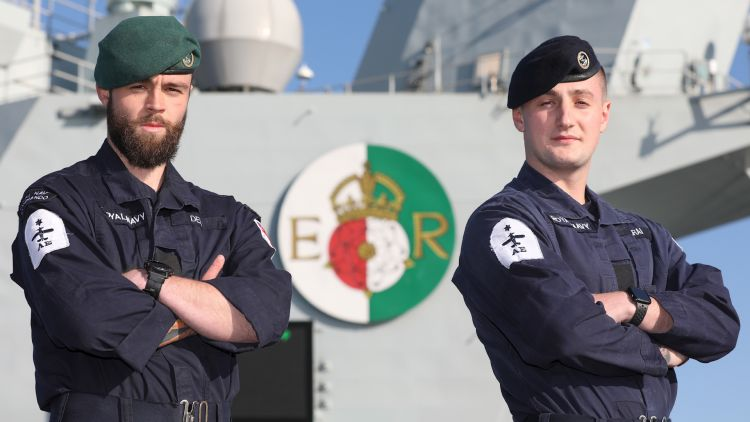Air Engineering Technicians LAE Calum Dee and Giorgio Zsirai on deck of HMS QE marathon challenge 280520 CREDIT Royal Navy.jpg