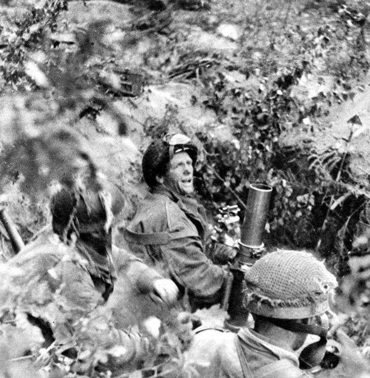 Airborne troops engaging the enemy with 3-inch mortars during Operation Market Garden in Arnhem