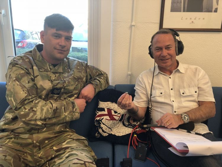 Sgt Al Butterfill speaking to Chris Pearson at Forces Radio, BFBS in Brunssum