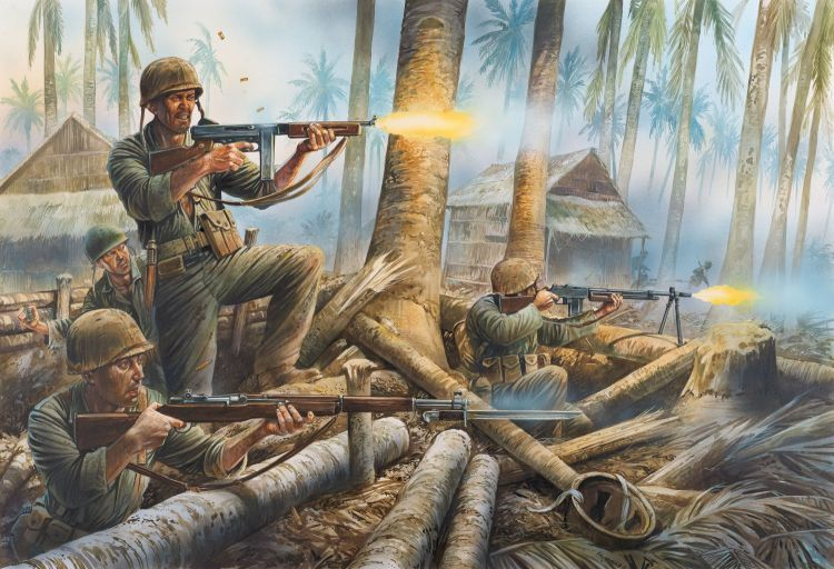 US Soldiers Fighting in the South Pacific. Credit: (image from 'The Thompson Submachine Gun' by Martin Pegler © Osprey Publishing, part of Bloomsbury Publishing)