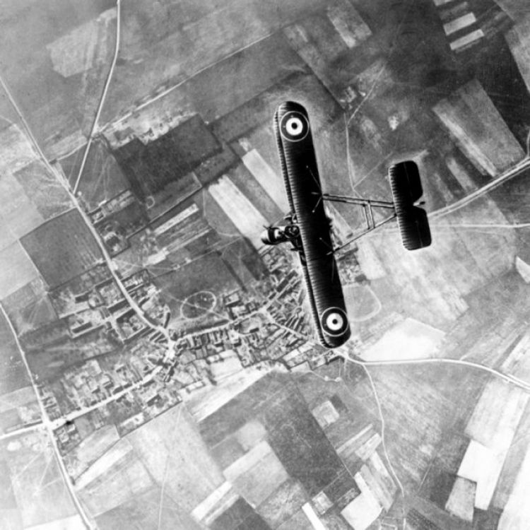 An FE.2b two-seat fighter pictured high above the trenches on the Western Front