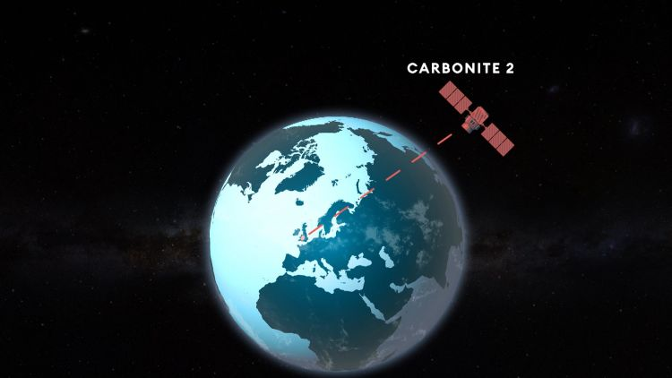 Animation created in post-production shows how Carbonite-2 satellite hovers over earth 171120 CREDIT BFBS.jpg