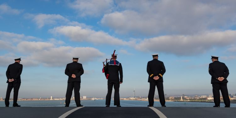 Anonymous shot of sailors onboard HMS Queen Elizabeth 041219 CREDIT ROYAL NAVY