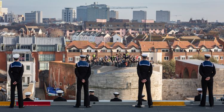 Anonymous shot of sailors sailing into Portsmouth on HMS Queen Elizabeth 041219 CREDIT ROYAL NAVY
