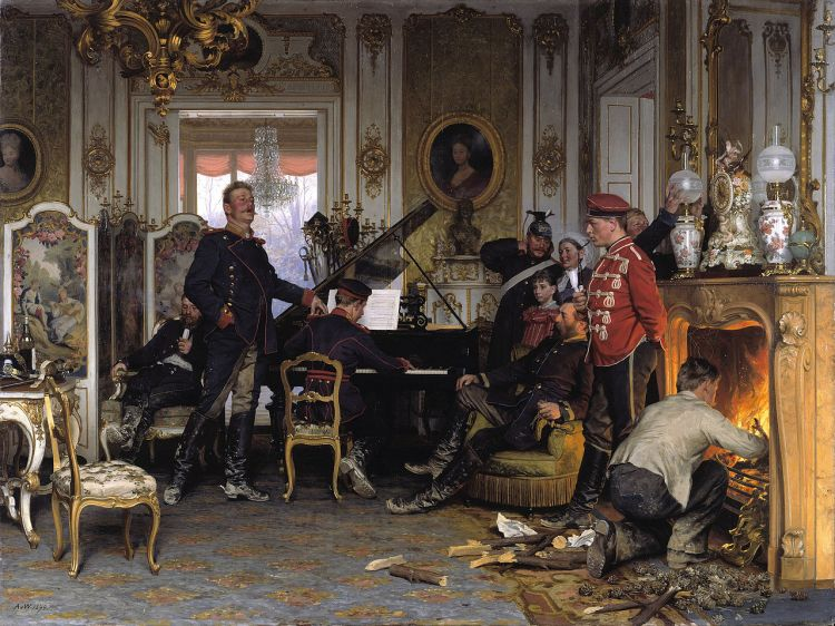Anton von Werner's 1894 painting Im Etappenquartier vor Paris (A Billet Outside Paris) depicts German soldiers making themselves at home in a requisitioned French house