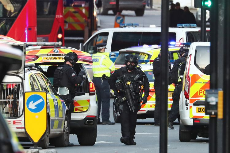 Armed police and emergency services on London Bridge