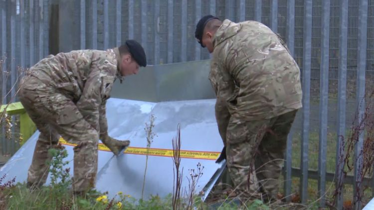 Army protecting electrical points in Doncaster following flooding Credit BFBS 13.11.19