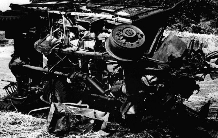Army truck attacked by IRA bomb at Warrenpoint on 27 Aug 1979