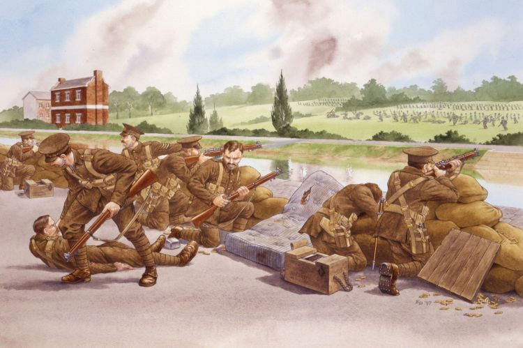 Attack of the German 18th Division at Mons, 23 August 1914