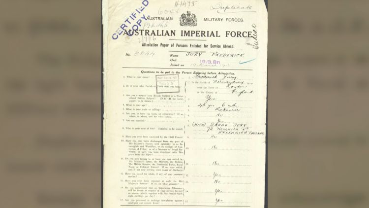 Australian soldier's AIF papers 070119 CREDIT BFBS.jpg