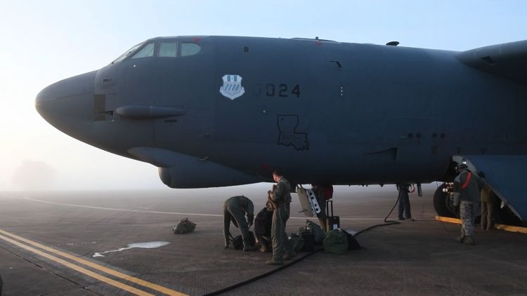 B52 crew from US prepare to return home from RAF Fairford 081119 CREDIT BFBS.jpg