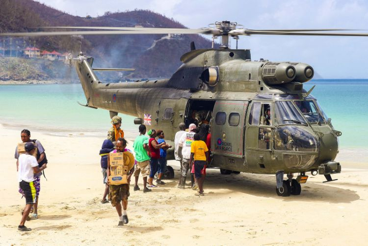 An RAF Puma delivering aid to residents of the British Virgin Islands.