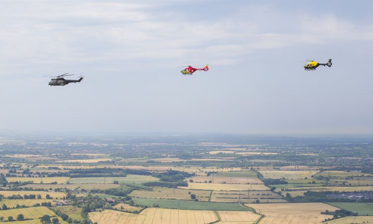 RAF, air ambulance and police fly together for the first time