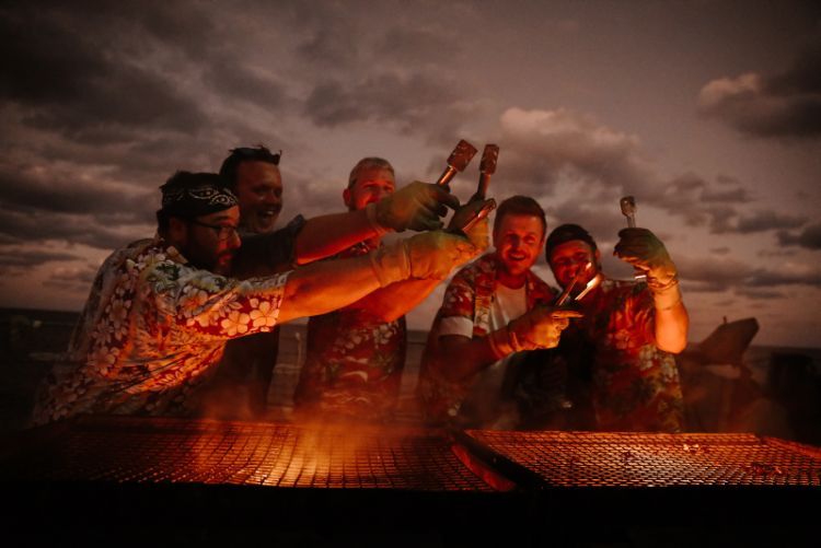The crew of HMS Dragon took some time out of their busy working routine to have a BBQ on the flight deck on 24 September 2019