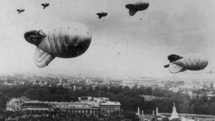 Barrage Balloons floating over central London