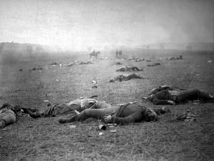 Dead soldiers photographed after the battle – this image of Union troops