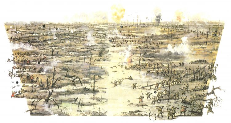 An image from 'Great Battles of World War I' by Anthony Livesey showing men of the 49 Division crossing the Ravebeek
