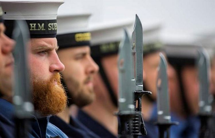 Bearded Royal Navy Sailor On Parade