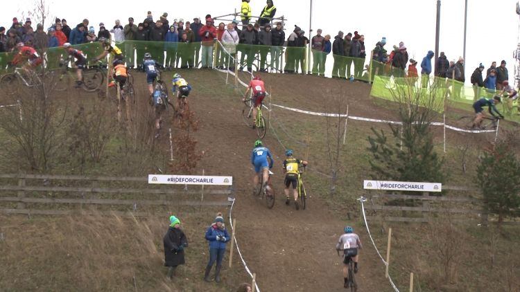 Bikers take on the off-road incline.