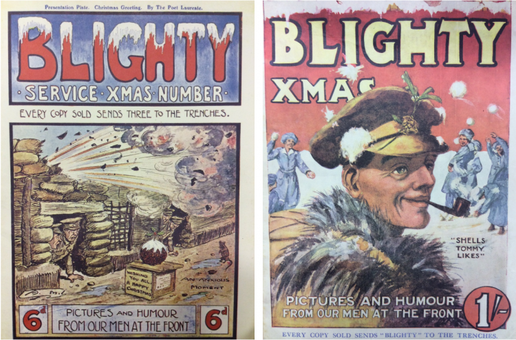 Blighty Christmas magazines 1916 and 1917 covers