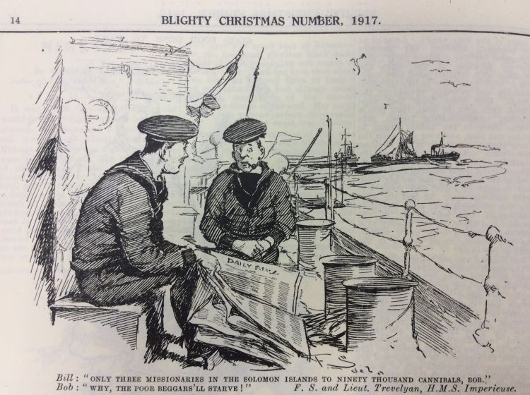 Blighty Magazine Cartoon sailors and cannibals