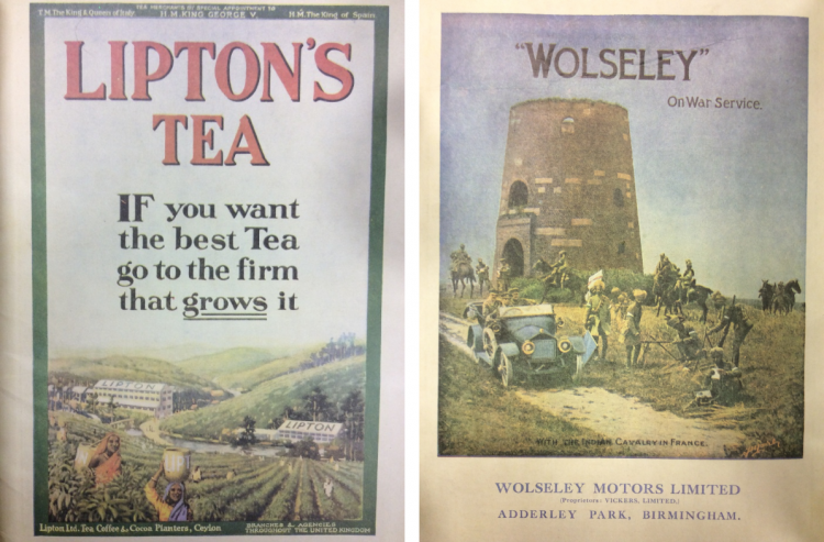 Blighty magazine ads Lipton tea and Wolseley motors