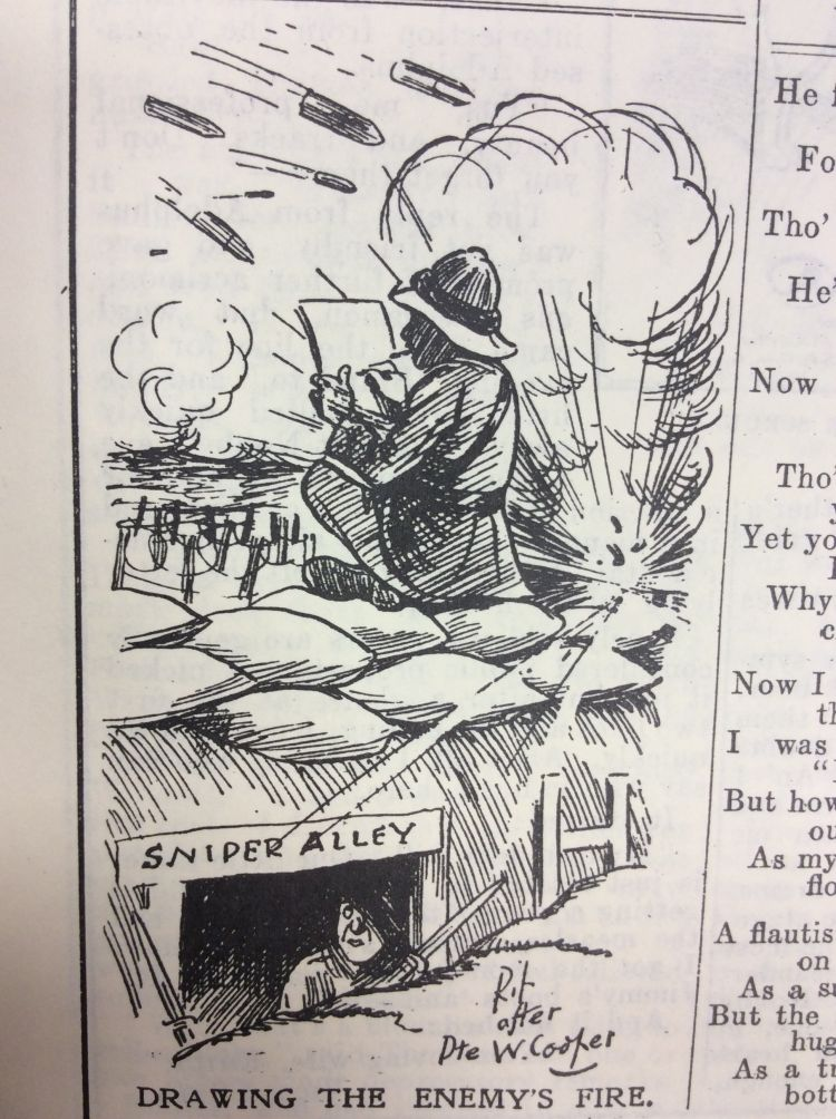 Blighty magazine cartoon drawing the enemy fire