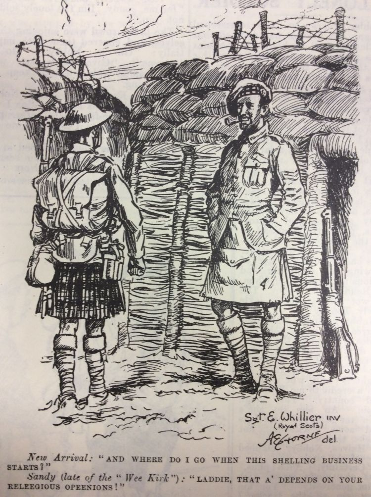 Blighty magazine cartoon in the trenches