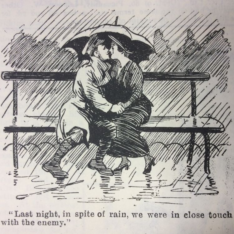Blighty magazine cartoon kissing on a bench