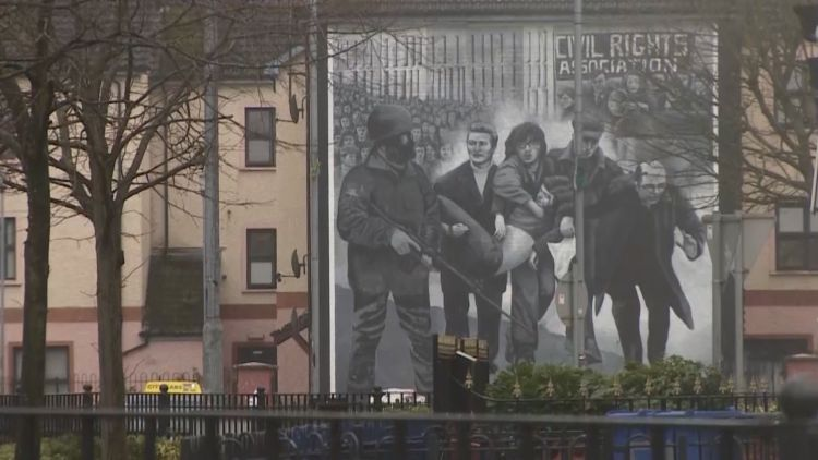 Bloody Sunday mural on house in Londonderry