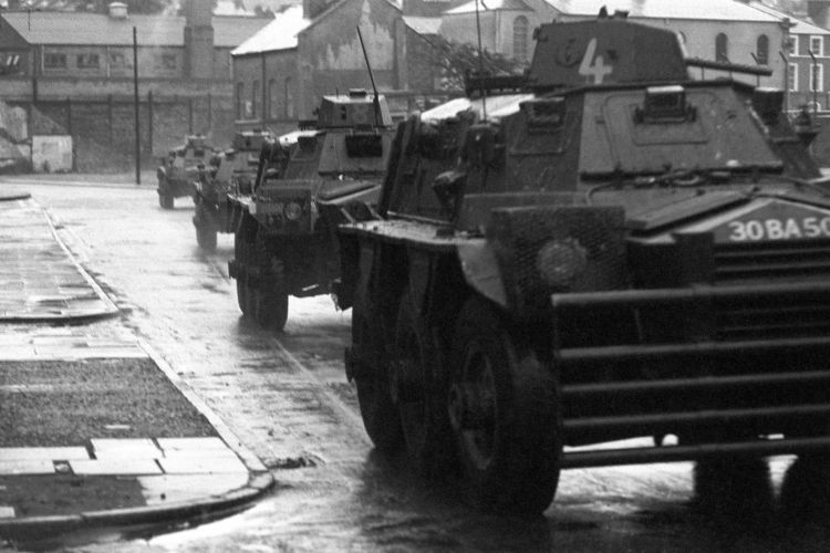 British Army Ferret armoured vehicles in Londonderry