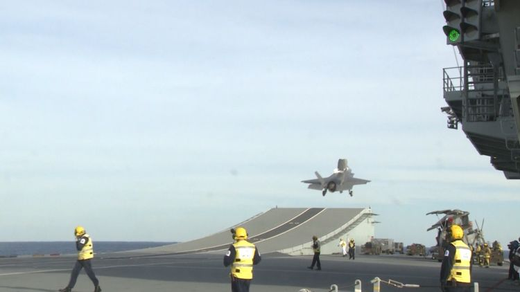 British F-35B takes off from HMS Queen Elizabeth's ski ramp 181019 CREDIT BFBS.jpg