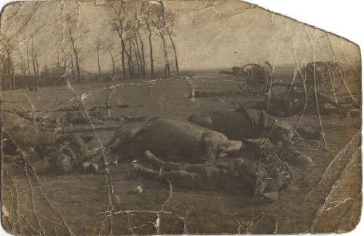 British dead after the Battle of Le Cateau in World War I another one
