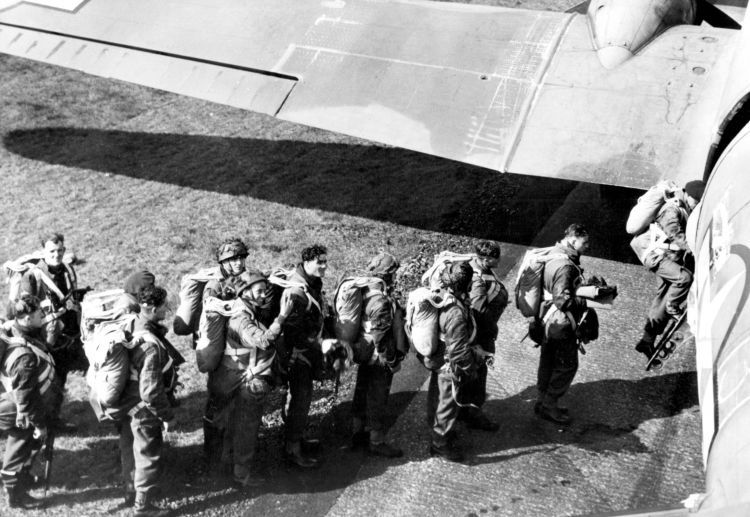 British troops of the First Allied Airborne Army line up to board the plane before Operation Market Garden