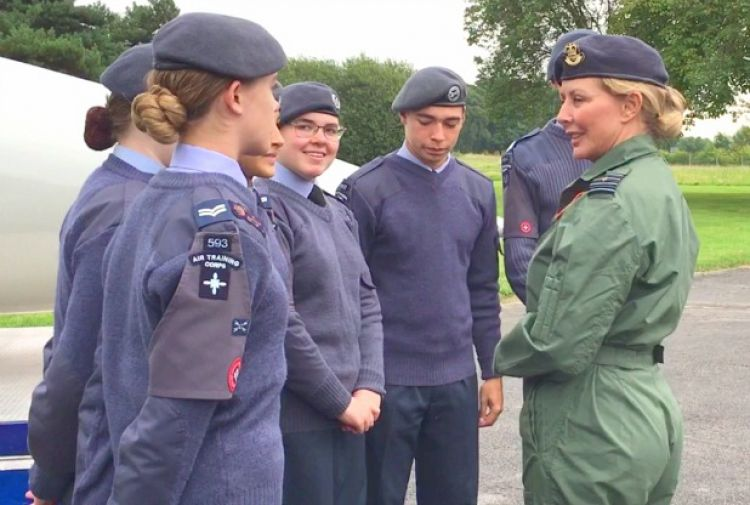Carol Vorderman inspired Air Cadets as she received an award at RAF Syerston