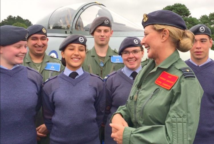 Carol Vorderman chats to Air Cadets at RAF Syerston