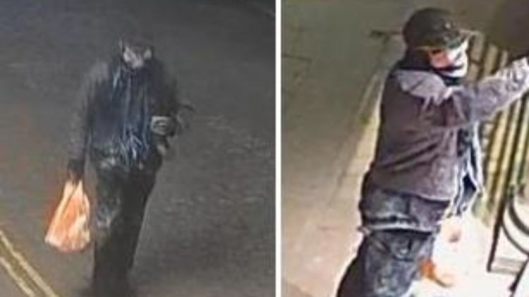 CCTV images of the suspect that Police believe vandalised the Bomber Command Memorial