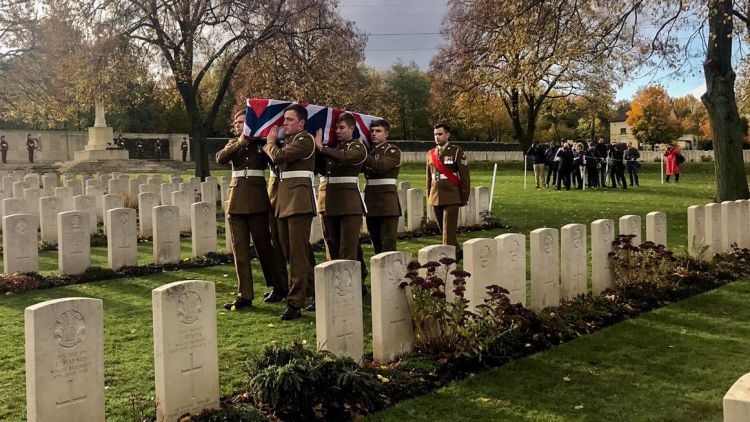 Reburial of Lance Corporal Frederick Thomas Perkins Loos British Cemetery Credit Commonwealth War Graves Commission