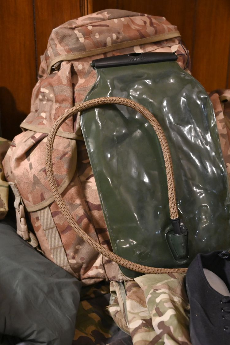 A day-sack (rucksack) is the medium size bag that can be attached to the larger bergan and often contains a CamelBak water carrier. Credit: Georgina Coupe, BFBS