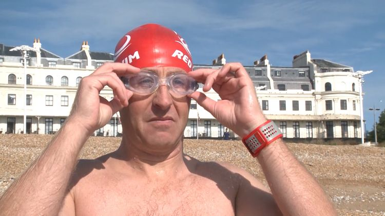 Captain Harry Grantham prepares for English Channel swim in Dover 270820 CREDIT BFBS