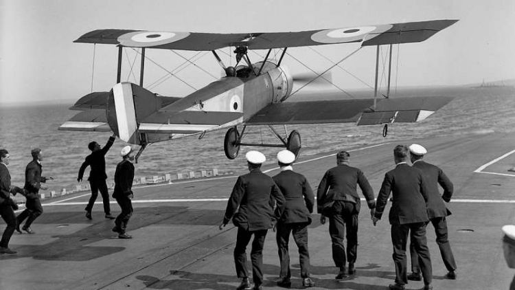 RAF pilot taking off from a carrier